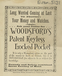 Advert for Woodsford's Patent Keyless Locked Pocket